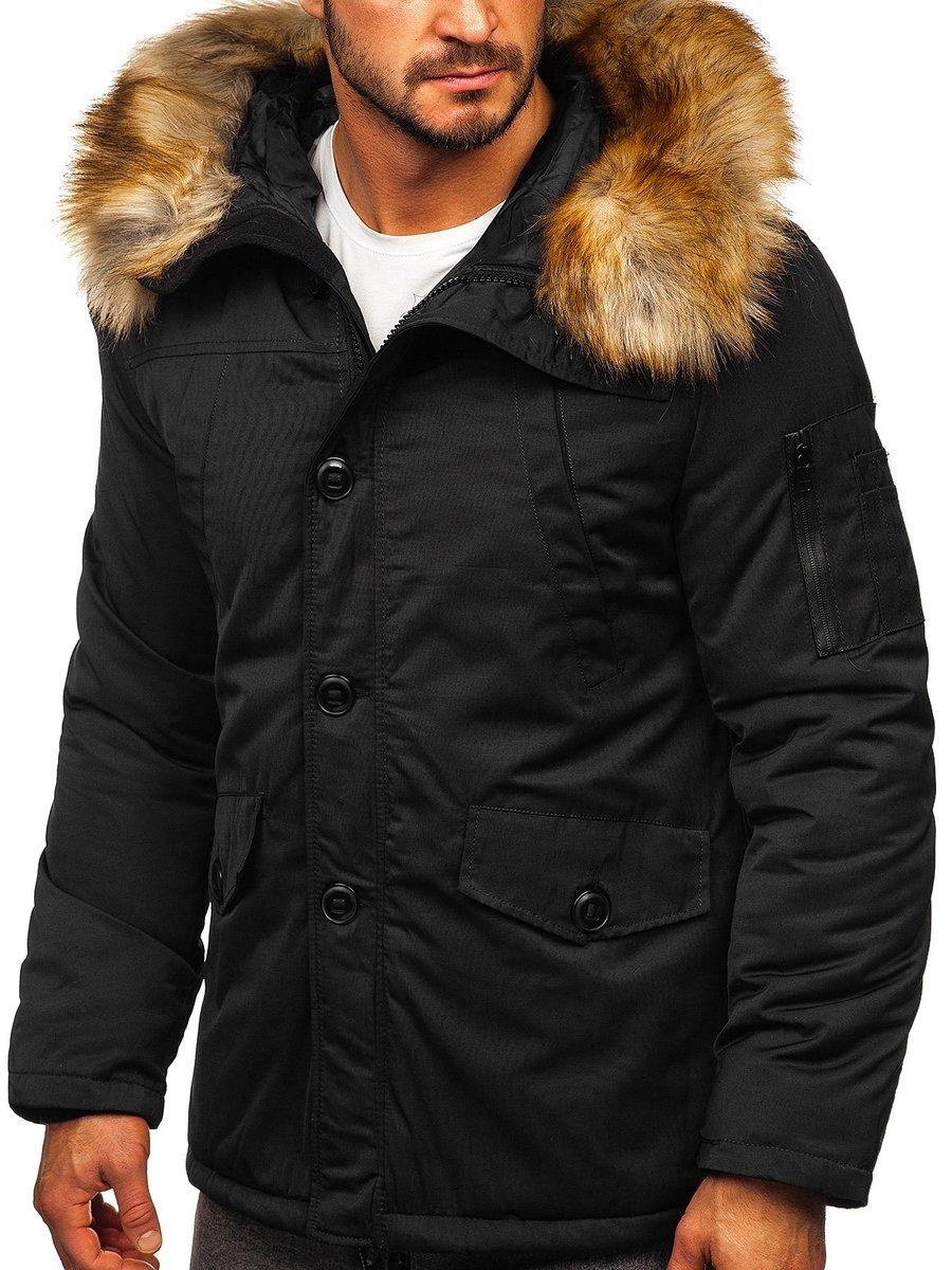 Geacă de iarnă parka alaska neagră Bolf JK355