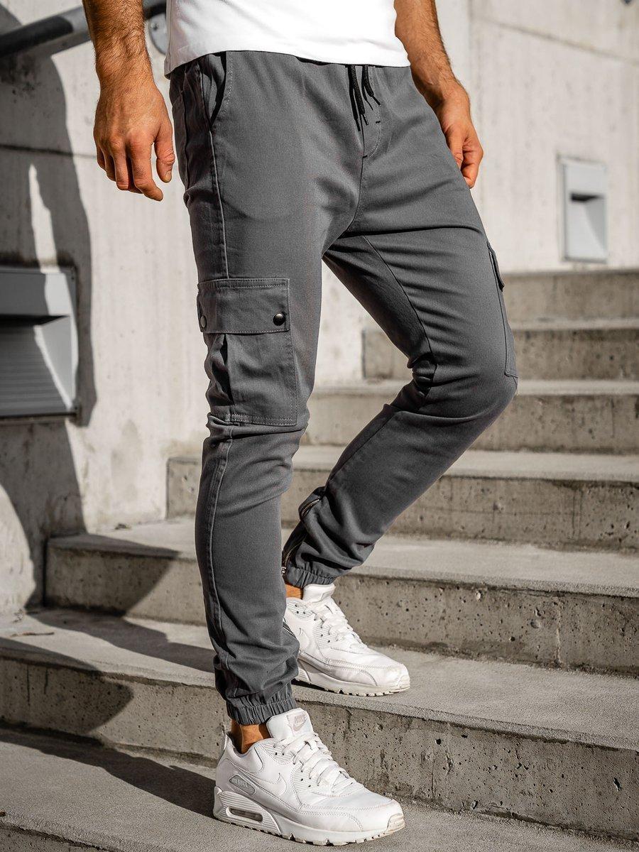 Pantaloni joggers cargo gri Bolf 0858