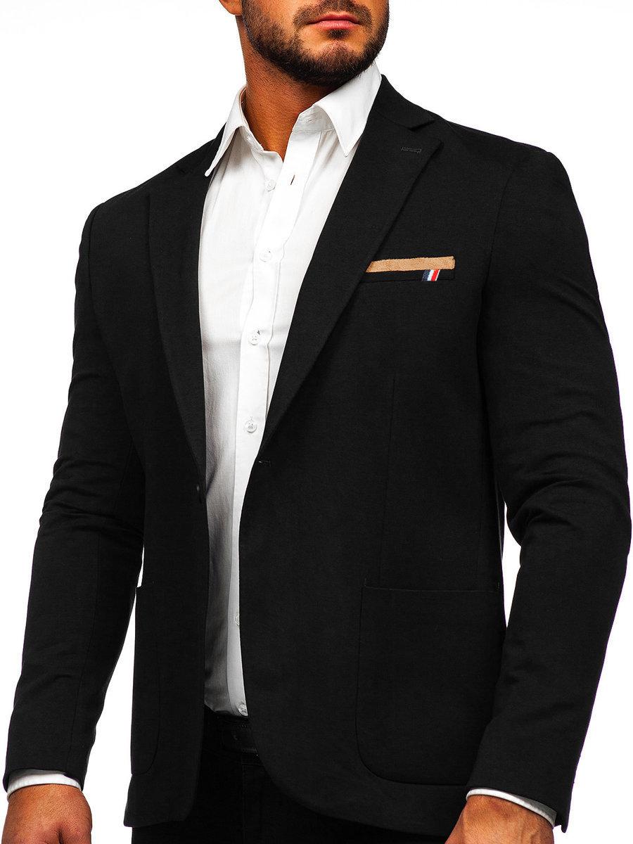 Sacou elegant pentru bărbat negru Bolf 1652 imagine