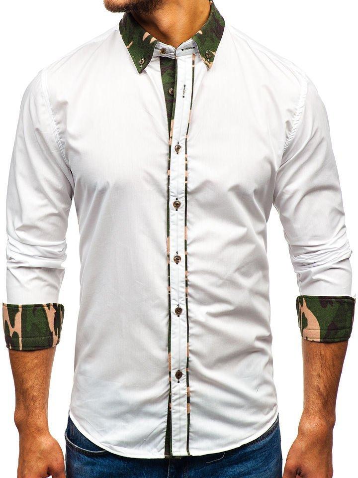 Cămașă elegantă pentru bărbat cu mâneca lungă camuflaj-albă Bolf 6876