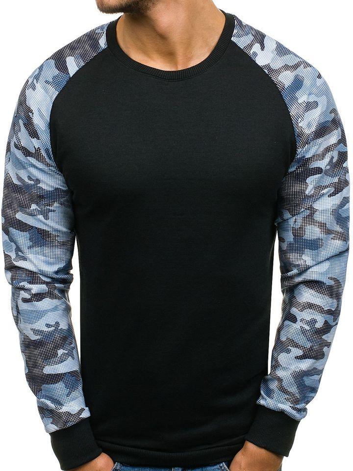 Bluză pentru bărbat fără glugă neagră-albastră Bolf 0883