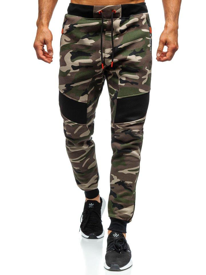 Pantaloni de trening bărbați camuflaj kaki Bolf TC873