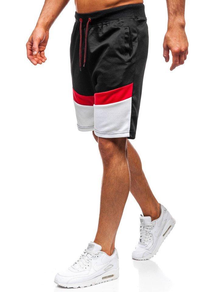 Pantaloni scurți de trening bărbați negri Bolf 81021