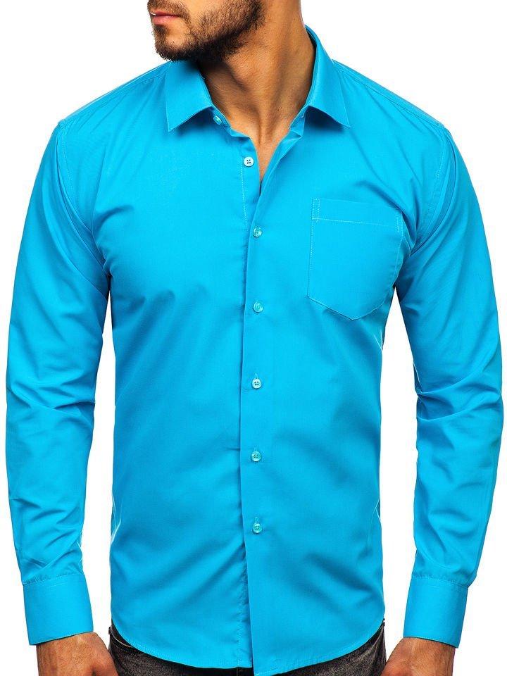 Cămașă elegantă bărbati albastru Bolf 0003