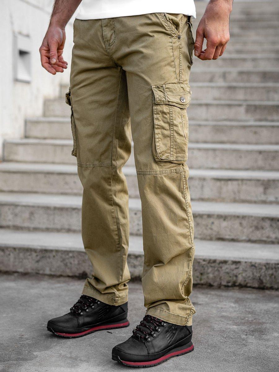 Pantaloni bej cargo cu curea Bolf CT8906 imagine