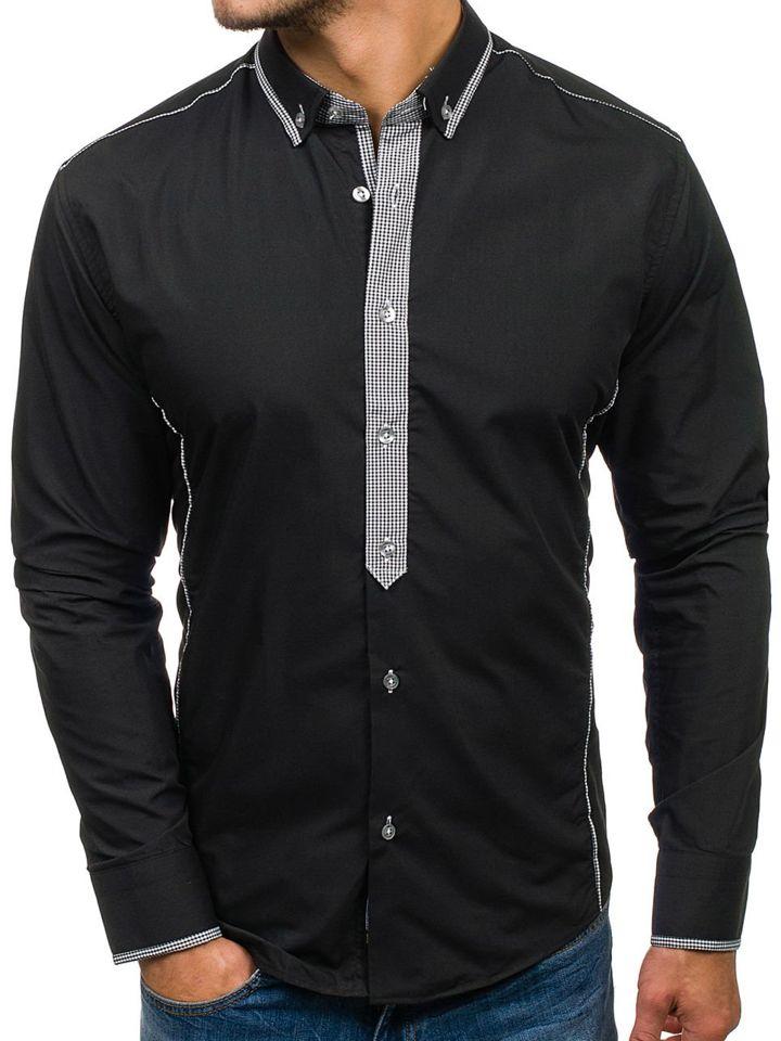 Cămașă elegantă pentru bărbat cu mâneca lungă neagră Bolf 5800