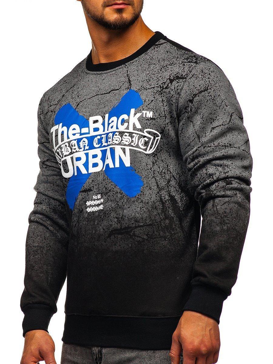 Bluză pentru bărbat fără glugă cu imprimeu grafit Bolf DD259 imagine