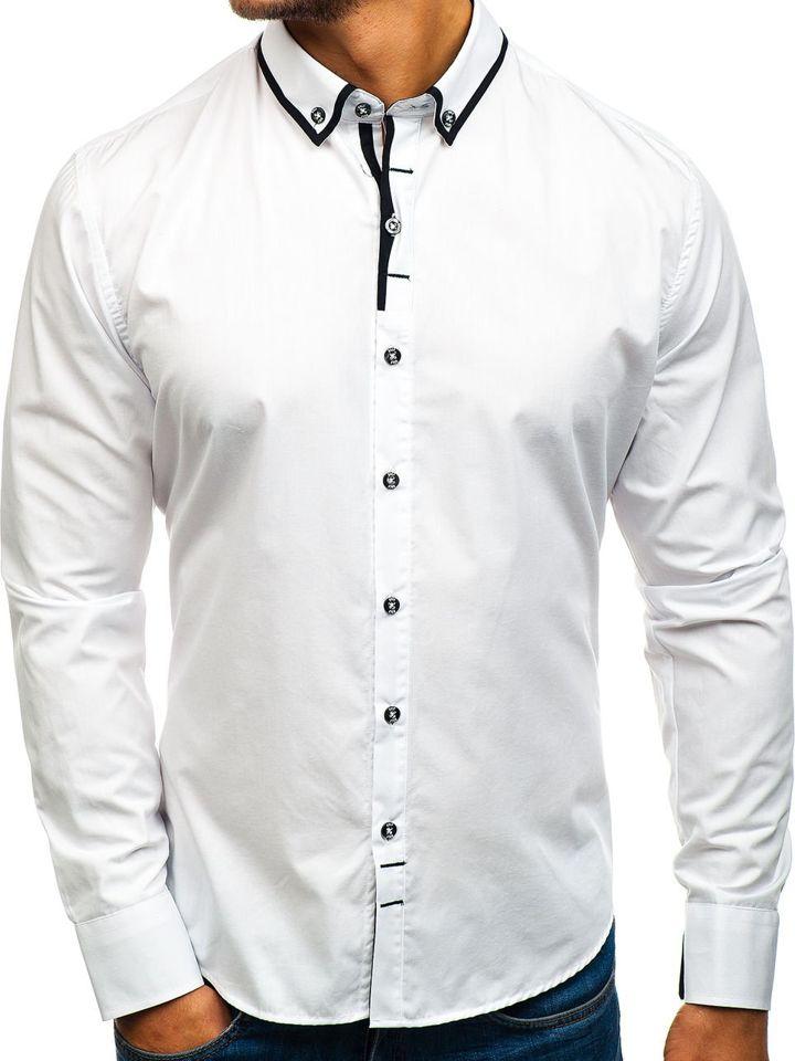 Cămașă elegantă pentru bărbat cu mâneca lungă albă Bolf 8824