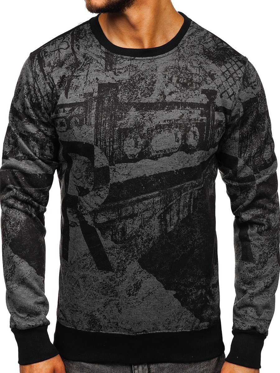 Bluză fără glugă cu imprimeu pentru bărbat grafit Bolf DD659 imagine
