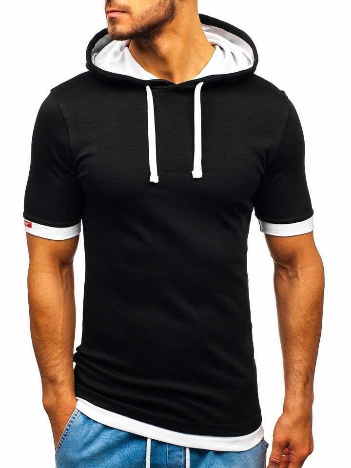Tricou cu glugă bărbați negru-alb Bolf 08-1