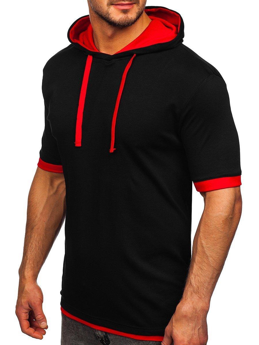 Tricou negru-roșu cu glugă Bolf 08