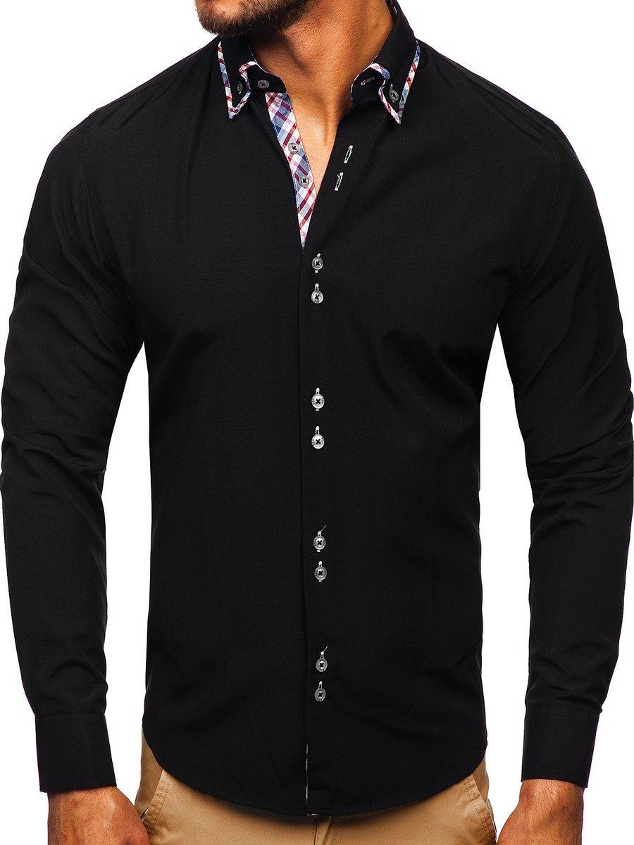 Cămașă elegantă pentru bărbat cu mâneca lungă neagră Bolf 4704