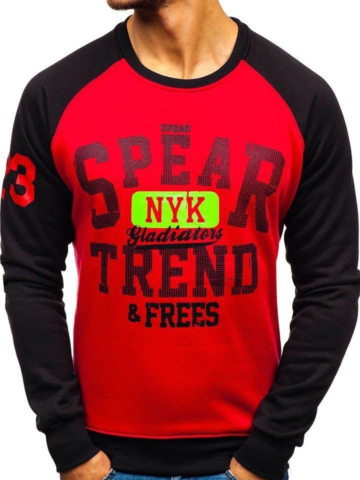 Bluză fără glugă cu imprimeu roșie Bolf DD280