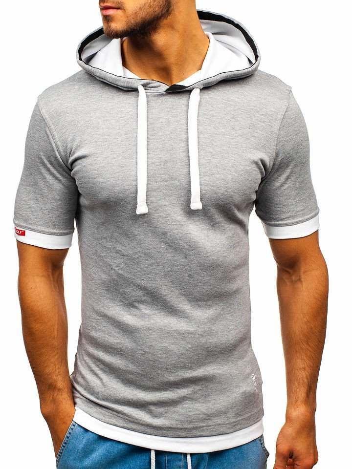 Tricou cu glugă bărbați gri Bolf 08-1