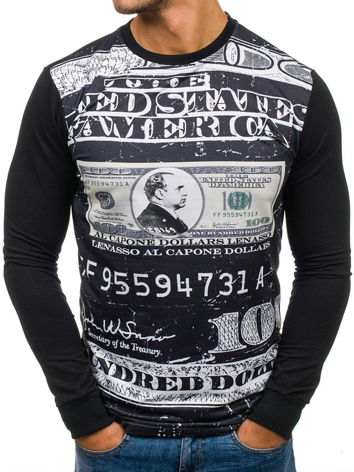 Bluză fără glugă cu imprimeu pentru bărbat neagră Bolf 70