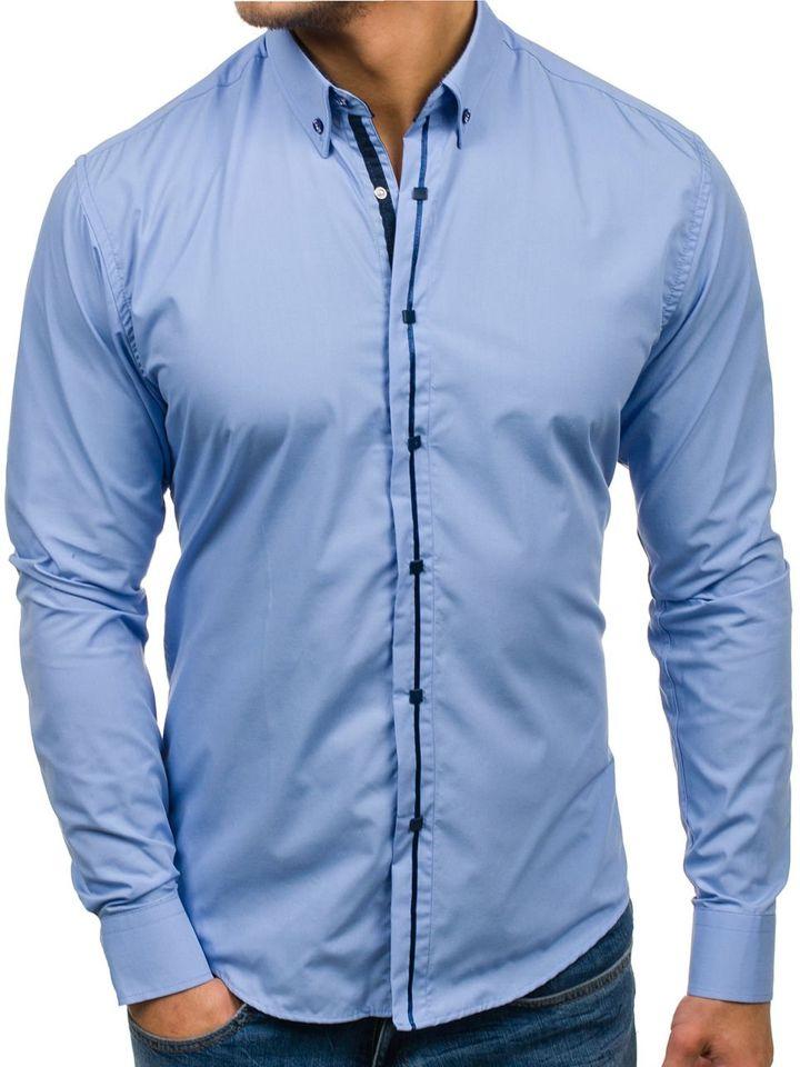 Cămașă elegantă pentru bărbat cu mâneca lungă albastră-deschis Bolf 7726