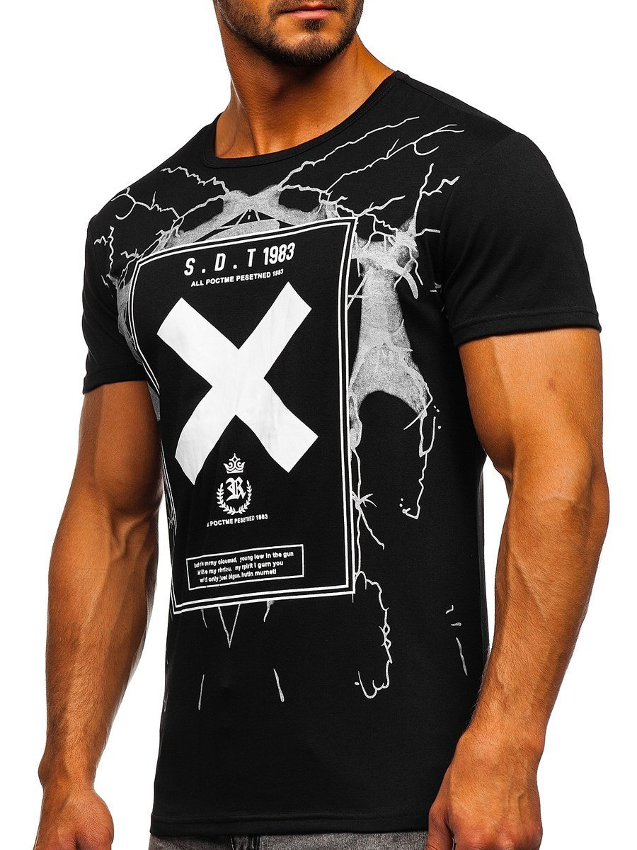 T-shirt cu imprimeu pentru bărbat negru Bolf 10875
