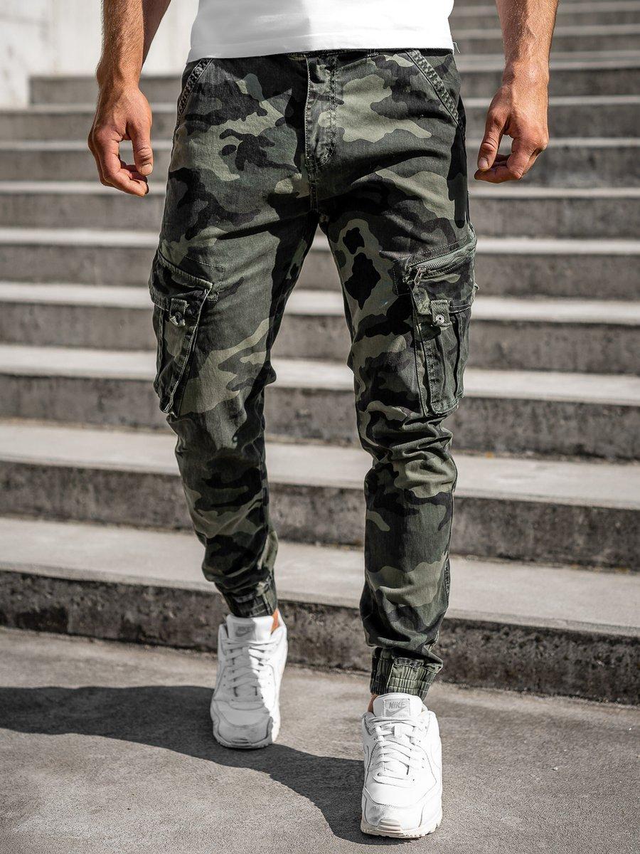 Pantaloni cargo military verde cu curea Bolf CT6013 imagine