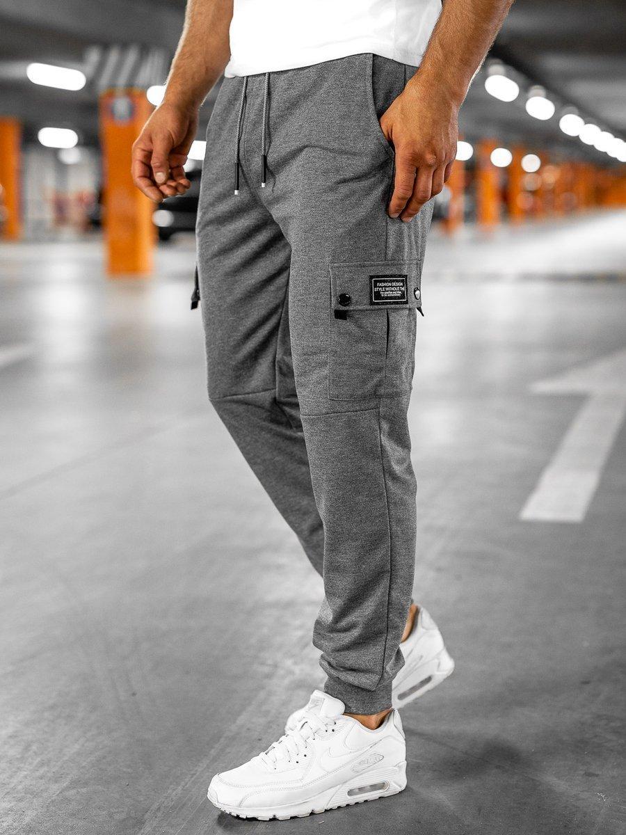Pantaloni cargo de trening grafit Bolf JX325