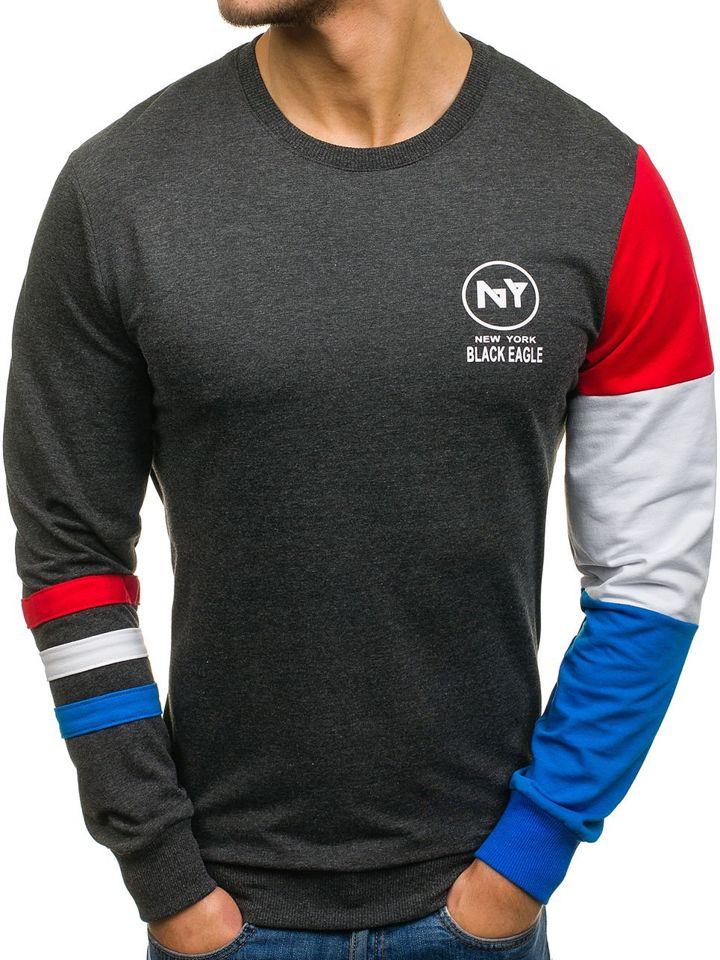 Bluză pentru bărbat fără glugă cu imprimeu grafit Bolf 0887 imagine