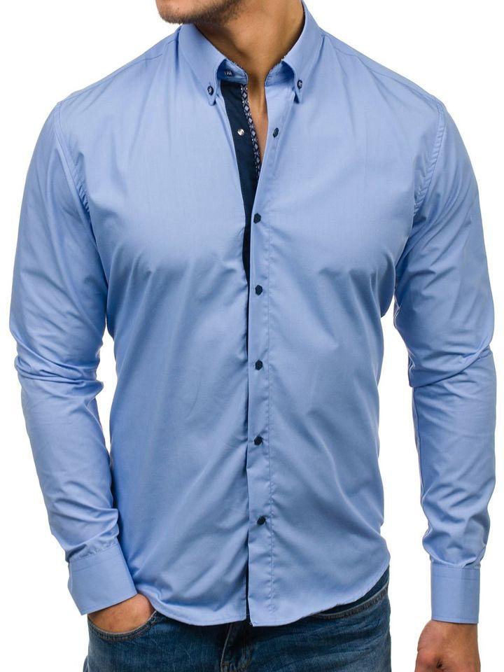Cămașă elegantă pentru bărbat cu mâneca lungă albastră-deschis Bolf 7723