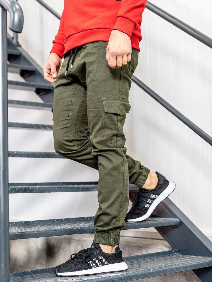 Pantaloni joggers cargo pentru bărbat kaki Bolf 0404
