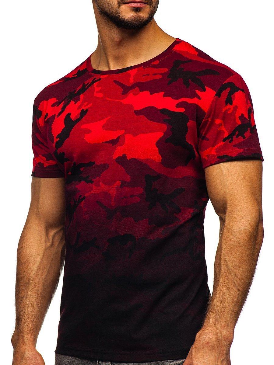 Tricou cu imprimeu bărbați camuflaj-roșu Bolf S808