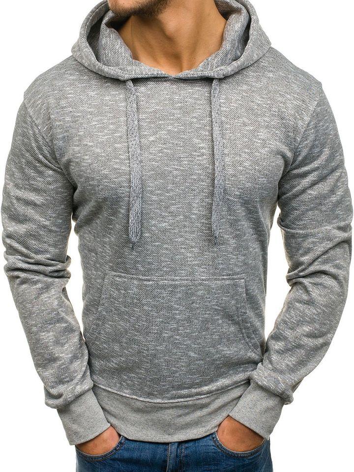 Bluză cu glugă pentru bărbat gri-deschis Bolf 7035