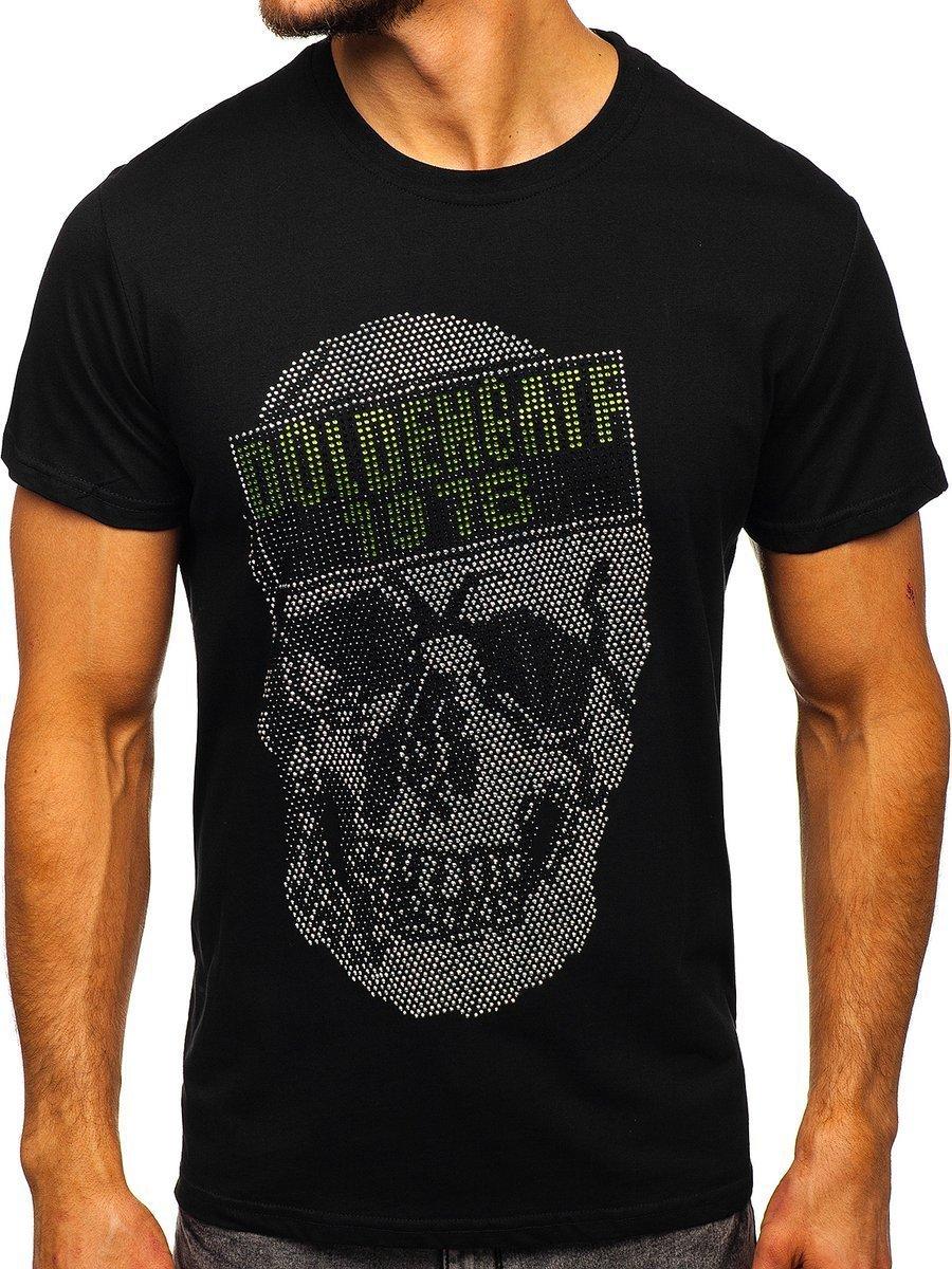 Tricou negru cu imprimeu bărbați Bolf KS2108