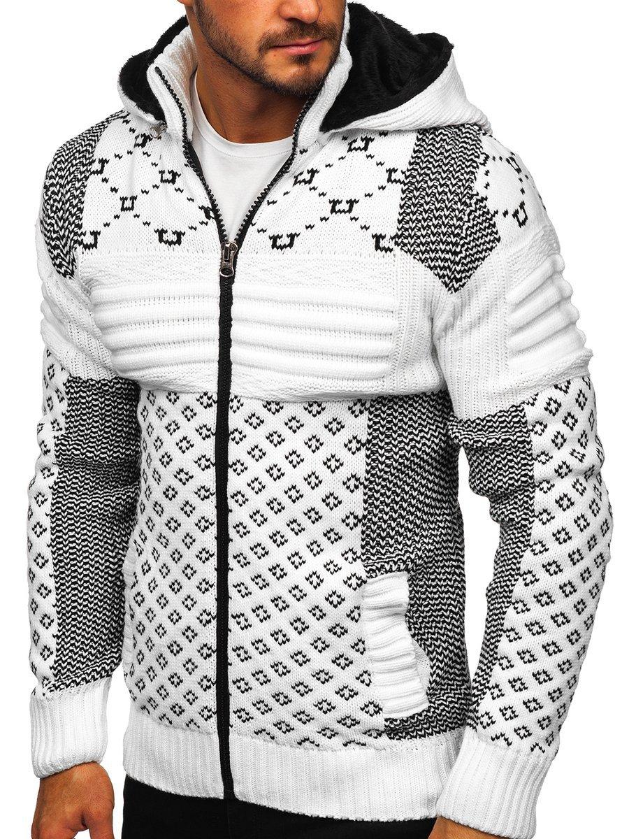 Pulover cu glugă gros alb Bolf 2060 imagine