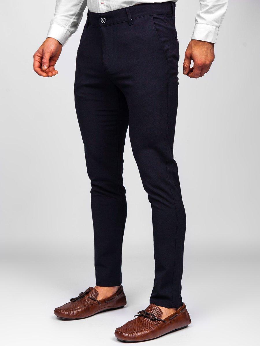 Pantaloni bleumarin chinos Bolf 0015 imagine
