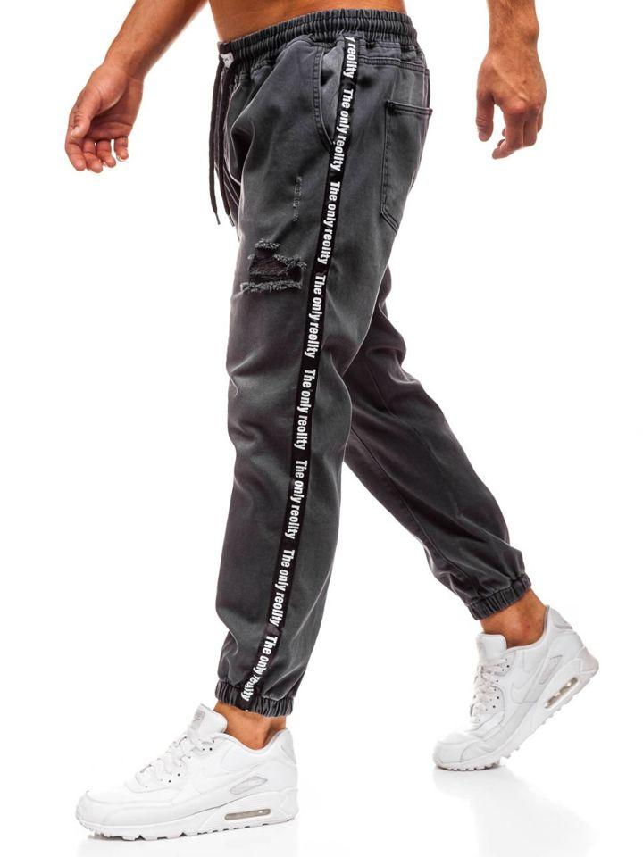 Jeanși baggy pentru bărbat gri-deschis Bolf 2045