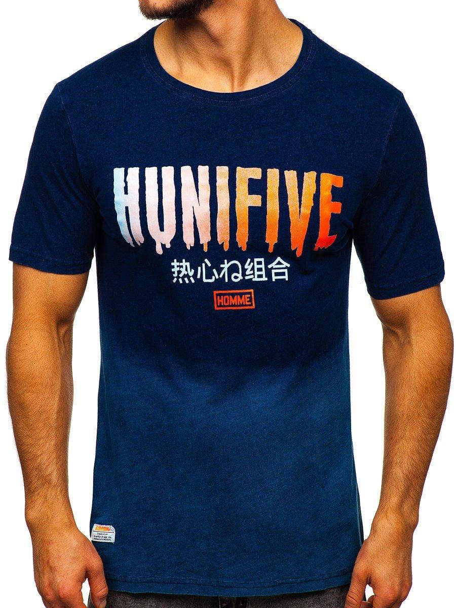 Tricou bleumarin cu imprimeu bărbati Bolf HFM016