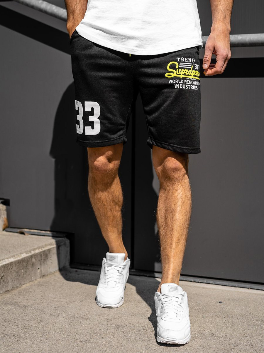 Pantaloni scurți sportivi pentru bărbat negri Bolf EX06 imagine