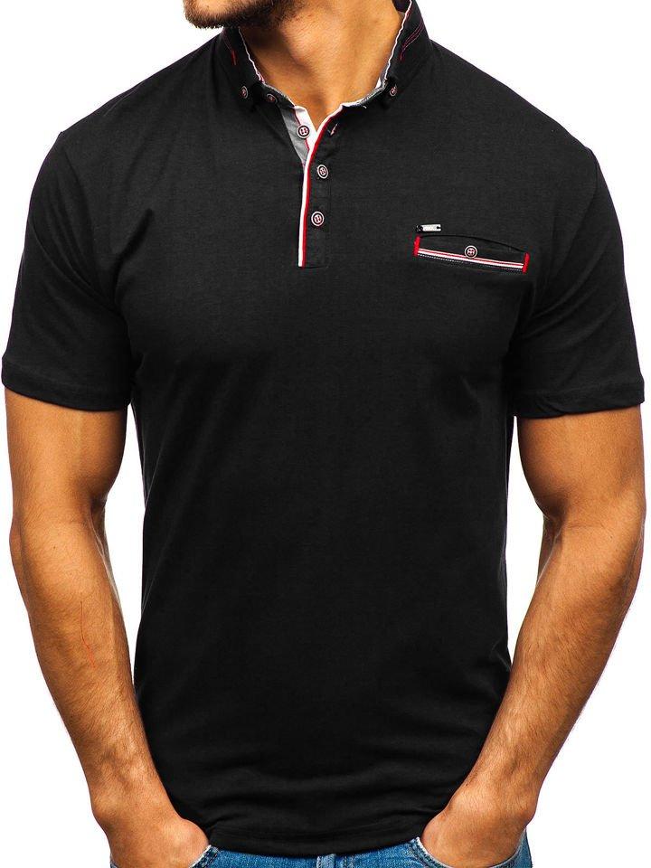 Tricou polo bărbați negru Bolf 192037