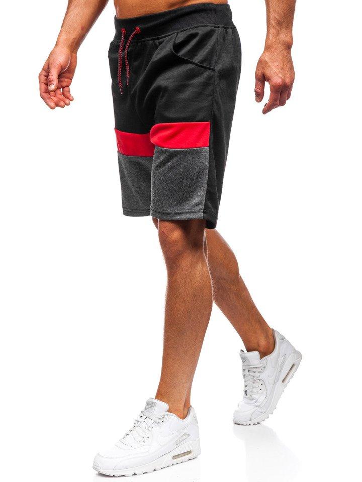 Pantaloni scurți de trening bărbați negri Bolf 81017