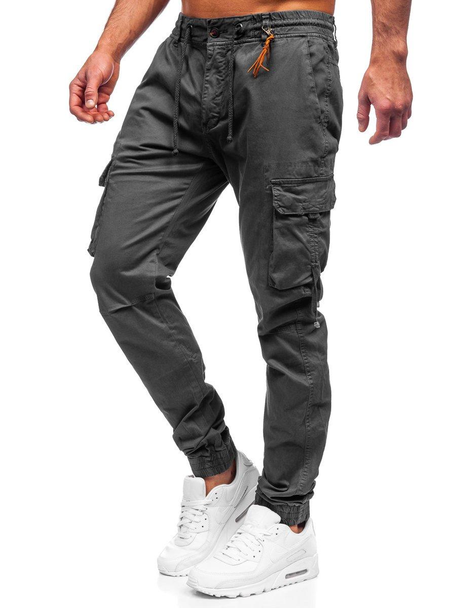 Pantaloni joggers cargo grafit Bolf 8956 imagine