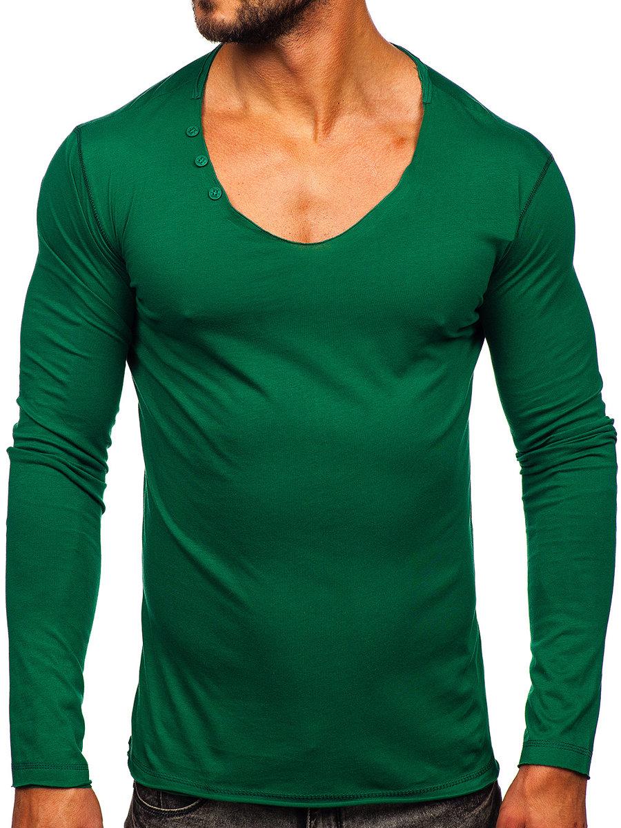 Long sleeve fără imprimeu pentru bărbat verde Bolf 547