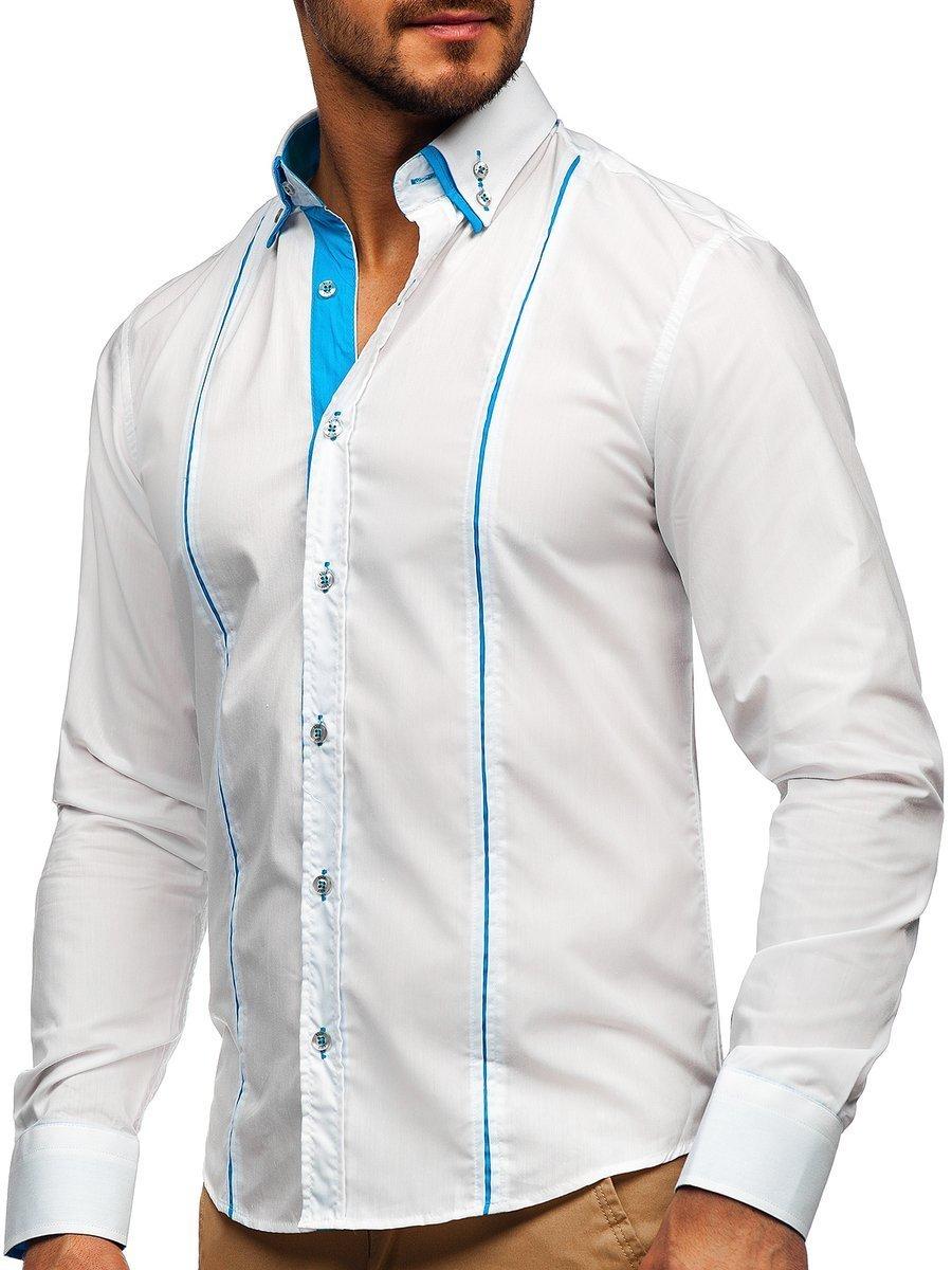 Cămașă elegantă pentru bărbat cu mâneca lungă albă Bolf 4744