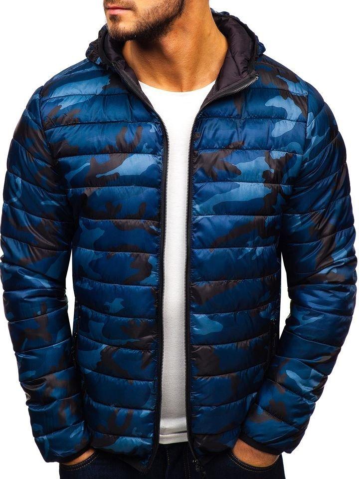 Geacă de iarnă sport camuflaj-bleumarin LY1001-1