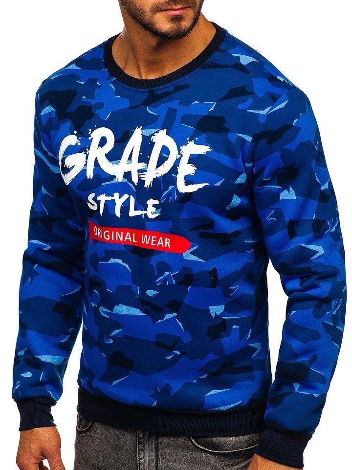 Bluza cu imprimeu bărbati albastra Bolf HY600