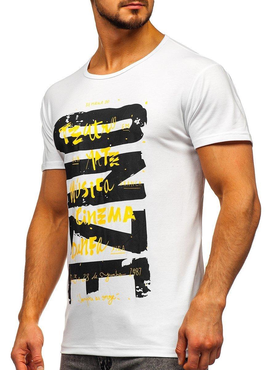 Tricou cu imprimeu bărbați alb Bolf KS1946 imagine