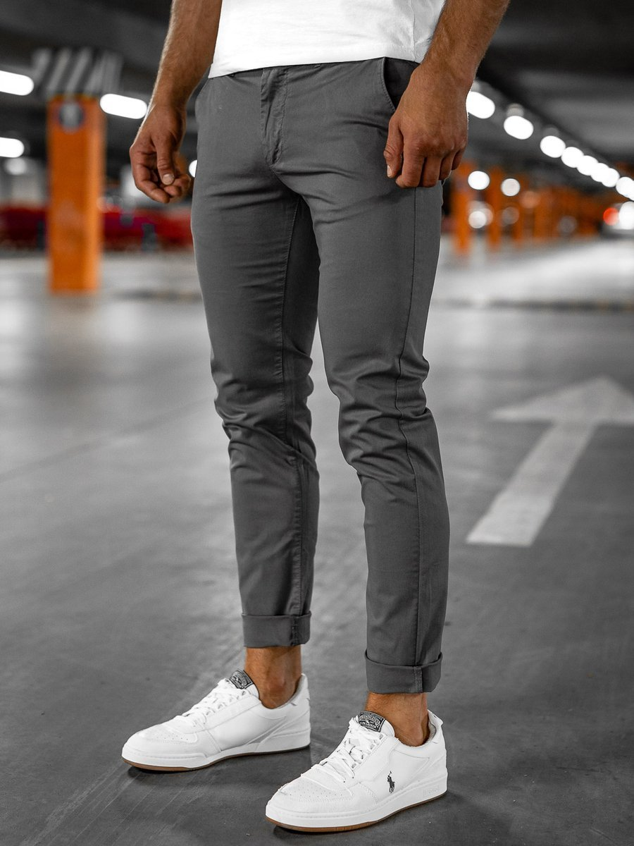 Pantaloni chinos gri bărbați Bolf 1146 imagine