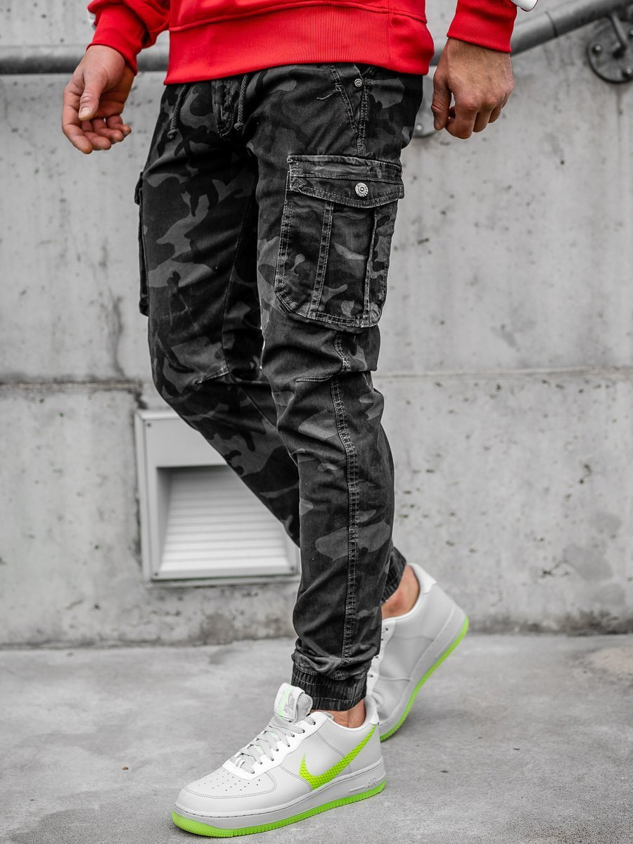 Pantaloni joggers cargo gri Bolf CT6019 imagine