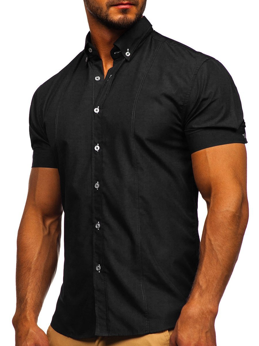 Cămașă elegantă pentru bărbat cu mâneca scurtă neagră Bolf 5535 imagine