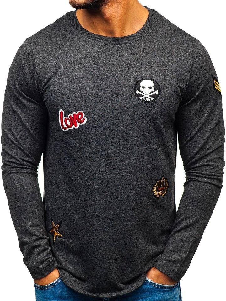 Bluză fără glugă cu imprimeu pentru bărbat gri-antracit Bolf 0734