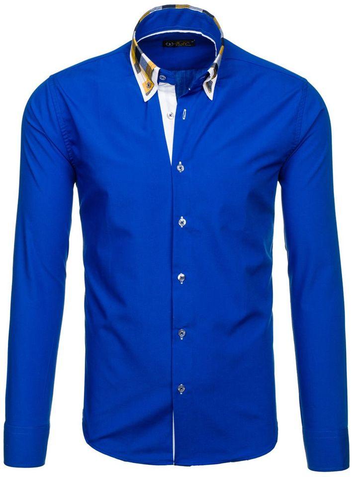 Cămașă elegantă cu mâneca lungă pentru bărbat albastru-aprins Bolf 6966