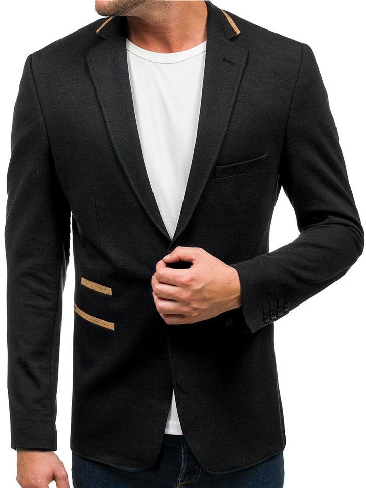 Sacou elegant pentru bărbat negru Bolf 9400
