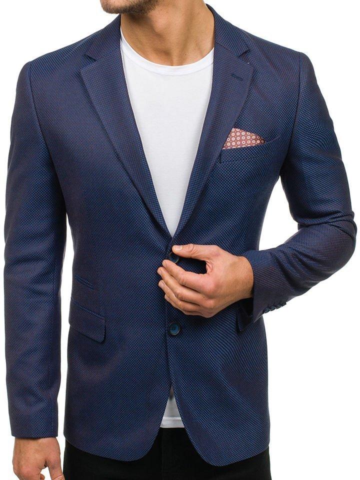 Sacou elegant pentru bărbat albastru-maro Bolf 2222