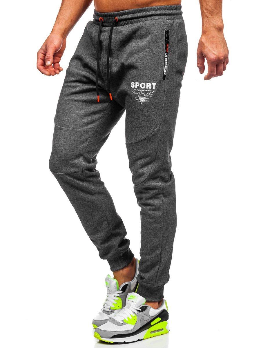 Pantaloni de trening grafit-portocaliu Bolf Q1042